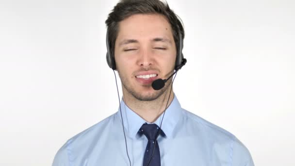 Smiling Young Call Center Agent on White Background