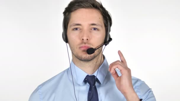 Online Video Chat by Talking Call Center Agent on White Background