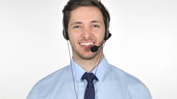 Thumbs Up by Young Call Center Agent on White Background