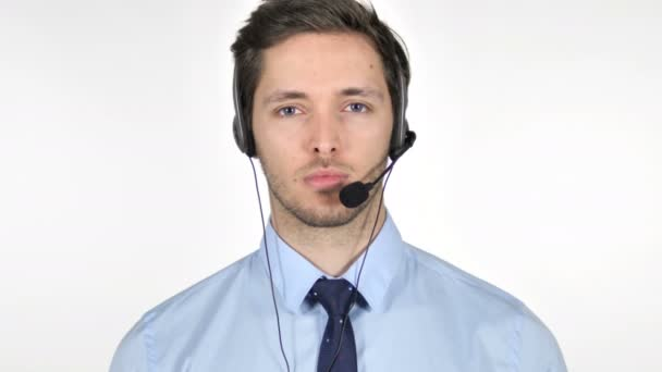 Young Call Center Agent on White Background