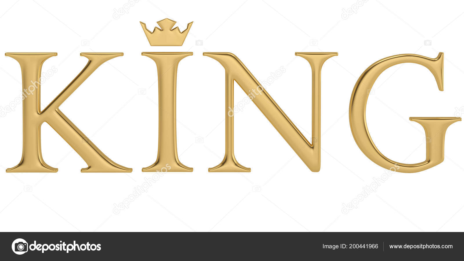Gold Word King Isolated White Background Illustration — Stock Photo