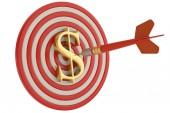 Znak dolaru cíl a dart izolovaných na bílém pozadí 3d obrázek