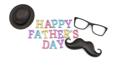 Funny lovely father's day  isolated on white background 3D illustration.
