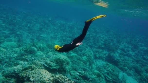 Donna libero immersioni sulla barriera corallina