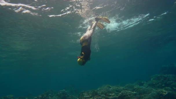 Freitauchermädchen taucht ins Wasser