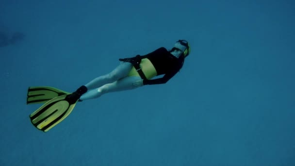 A young woman free diving