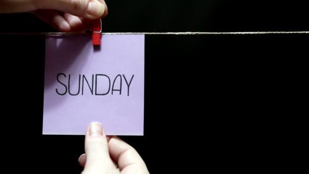 Dvě barevné samolepky. Emoce. Na levém lila nápis listu Sunday. Na pravém listu tvář s výrazem lásky peněz.