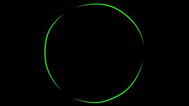 Animáció. Absztrakt képet homályos izzó gyűrűk. Forgó piros és zöld lábnyomokat.
