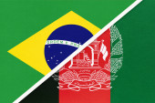 Fotografie Republic of Brazil and Afghanistan, symbol of two national flags from textile. Relationship, partnership and championship between Asian and American countries.