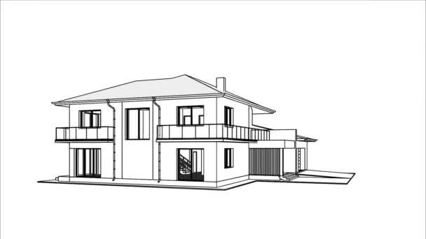 3D-Wohn-Luxus-Haus endlose Rotation. 3D-Zeichnung im Vorort zu Hause. Architektonisches Thema.