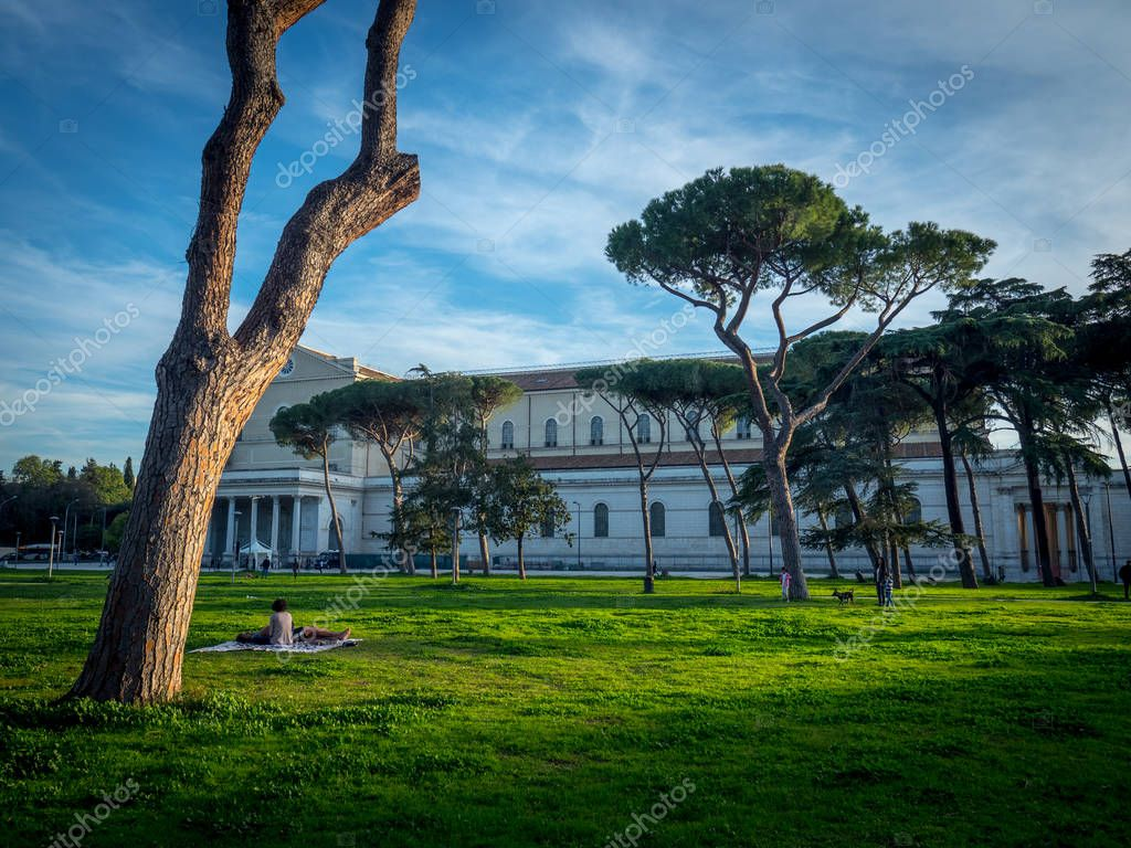 Old beautiful architecture of Villa Borghese park in Rome, Italy, Europe