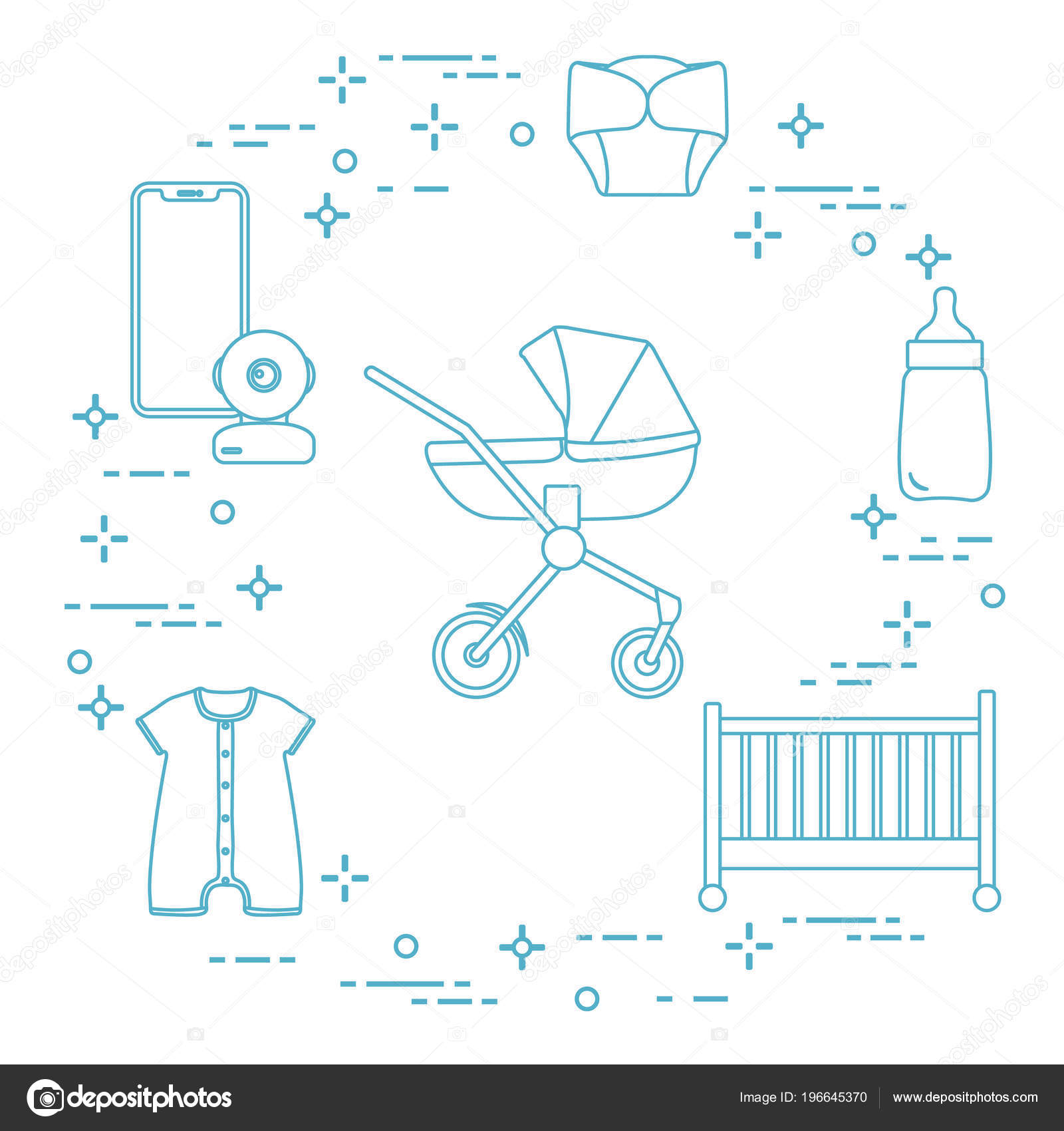 b32a1e1e116 Goods Babies Stroller Crib Baby Monitor Bottle Waterproof Panties Overalls  — Stock Vector