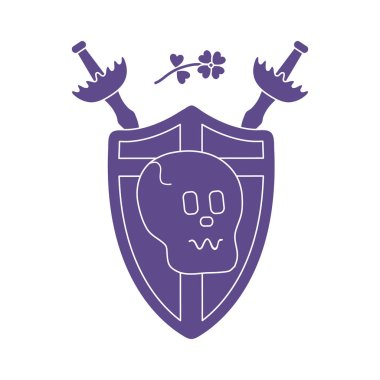 Skull, shield, two crossed swords, clover. Design element for postcard, banner or print.