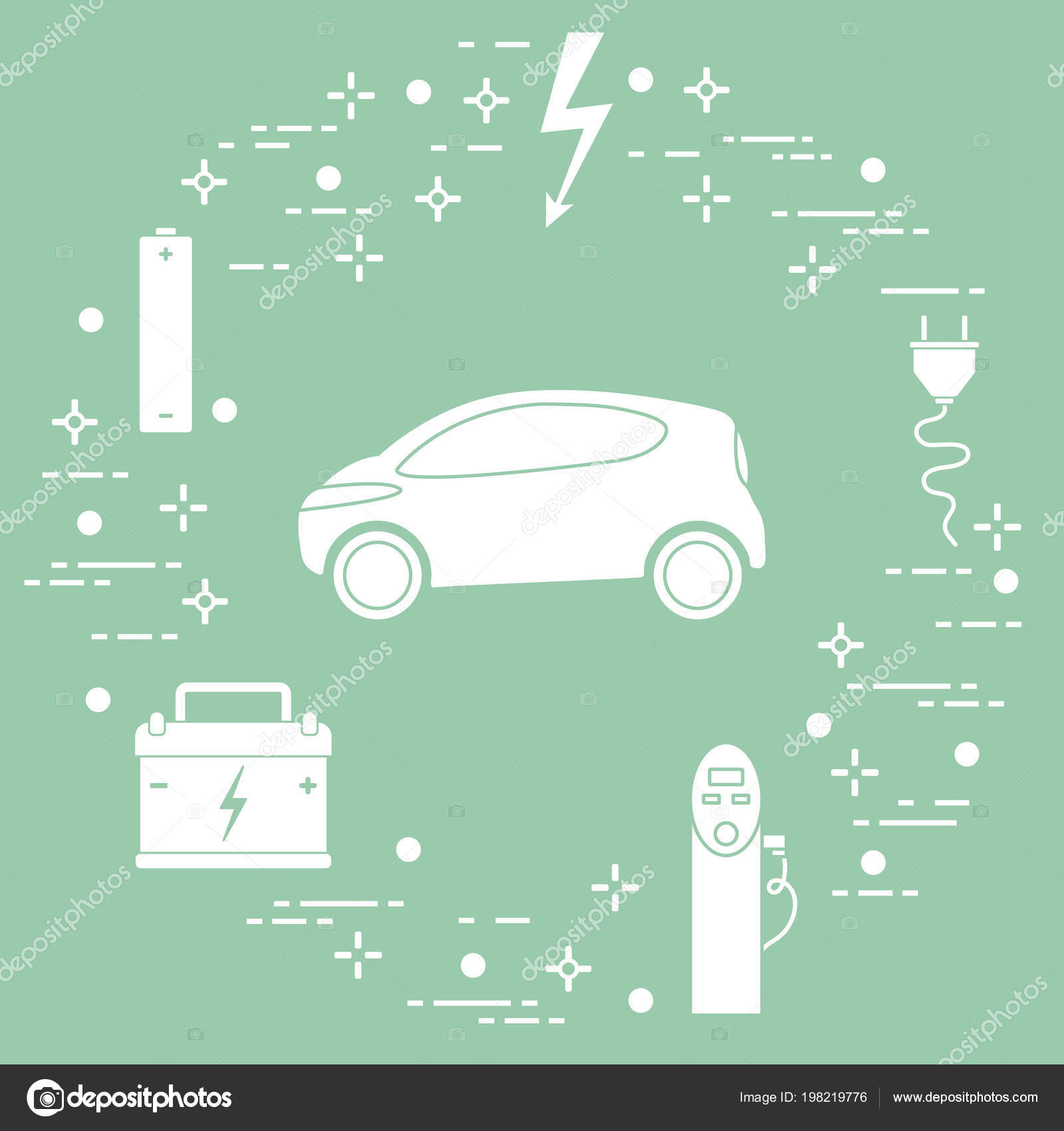 Electric Car Battery Charging Station Electrical Safety Sign Cable Charger Diagram Stock Vector