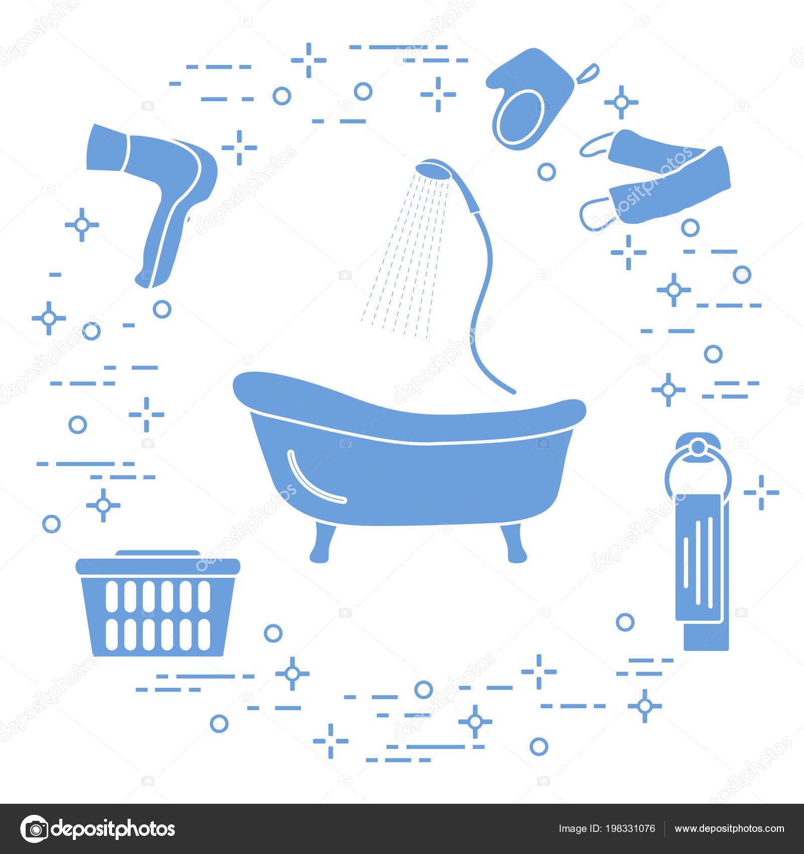 Bathroom Elements Bath Shower Hairdryer Washcloths Towel Laundry ...