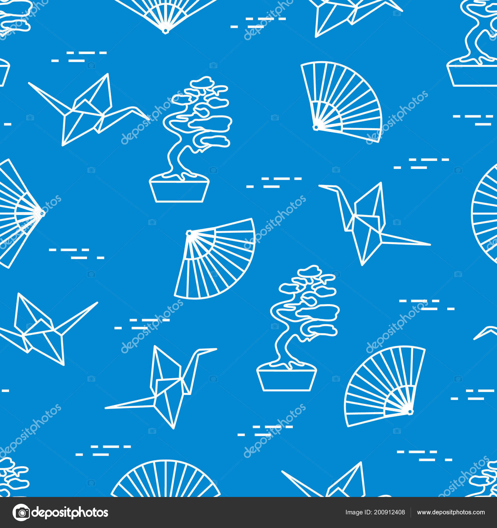 Seamless Pattern Bonsai Trees Origami Paper Cranes Fans Travel Leisure