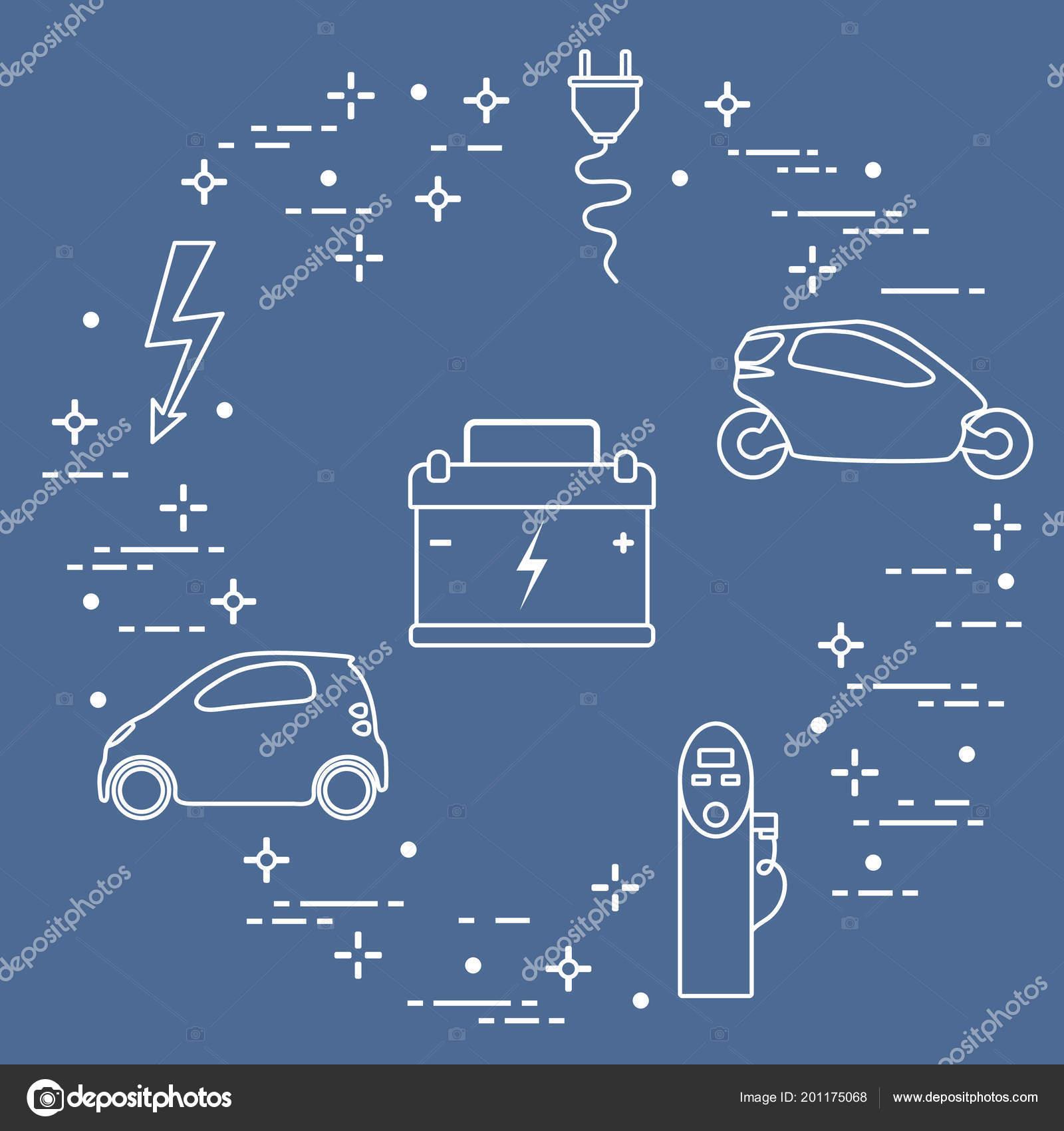 Elektrische Auto Accu Opladen Elektrische Veiligheid Teken Kabel