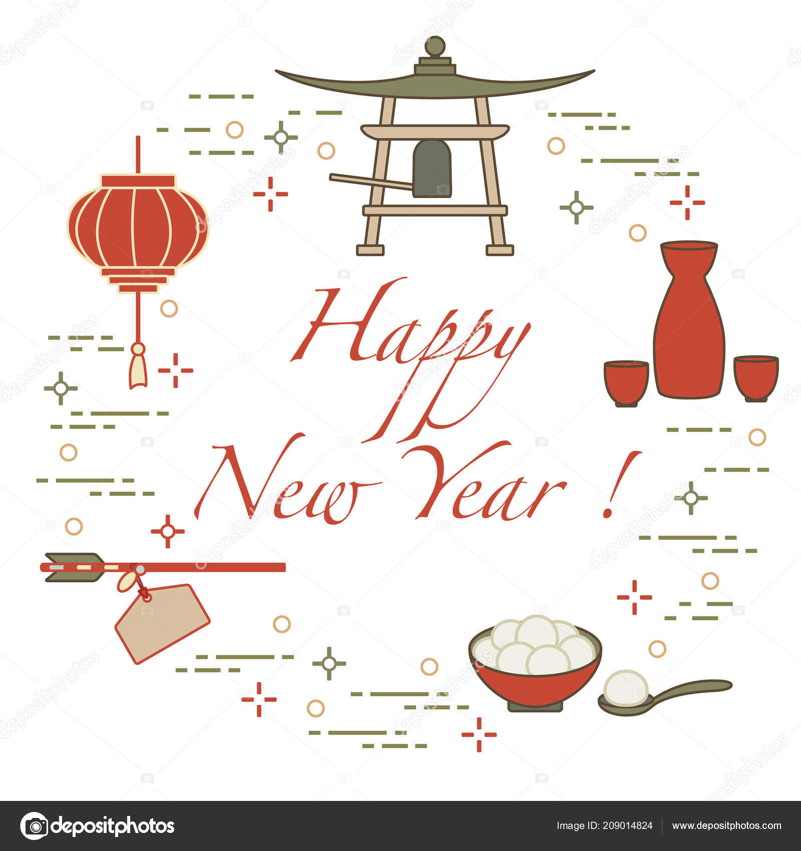 happy new year 2019 card new year symbols japan lantern stock vector