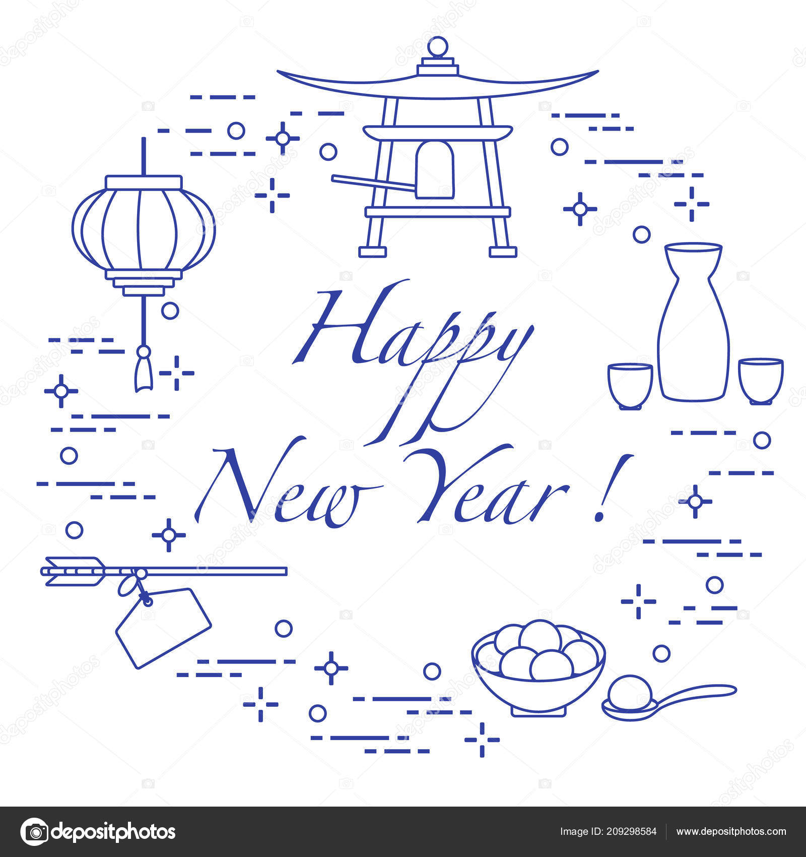 happy new year 2019 card new year symbols japan lantern stock vector