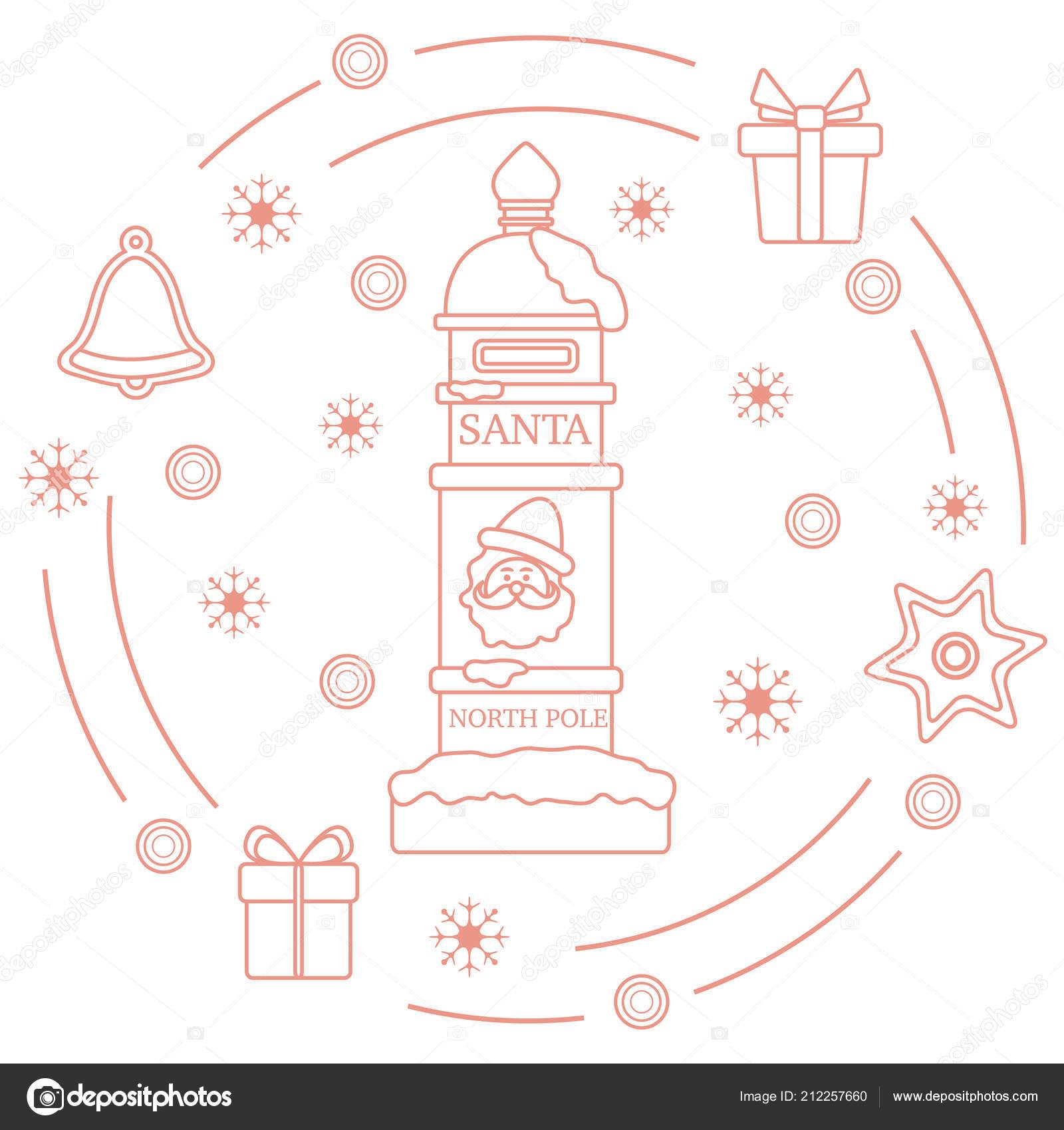 Santa Mailbox Gifts Bell Gingerbread Star Snowflakes New Year