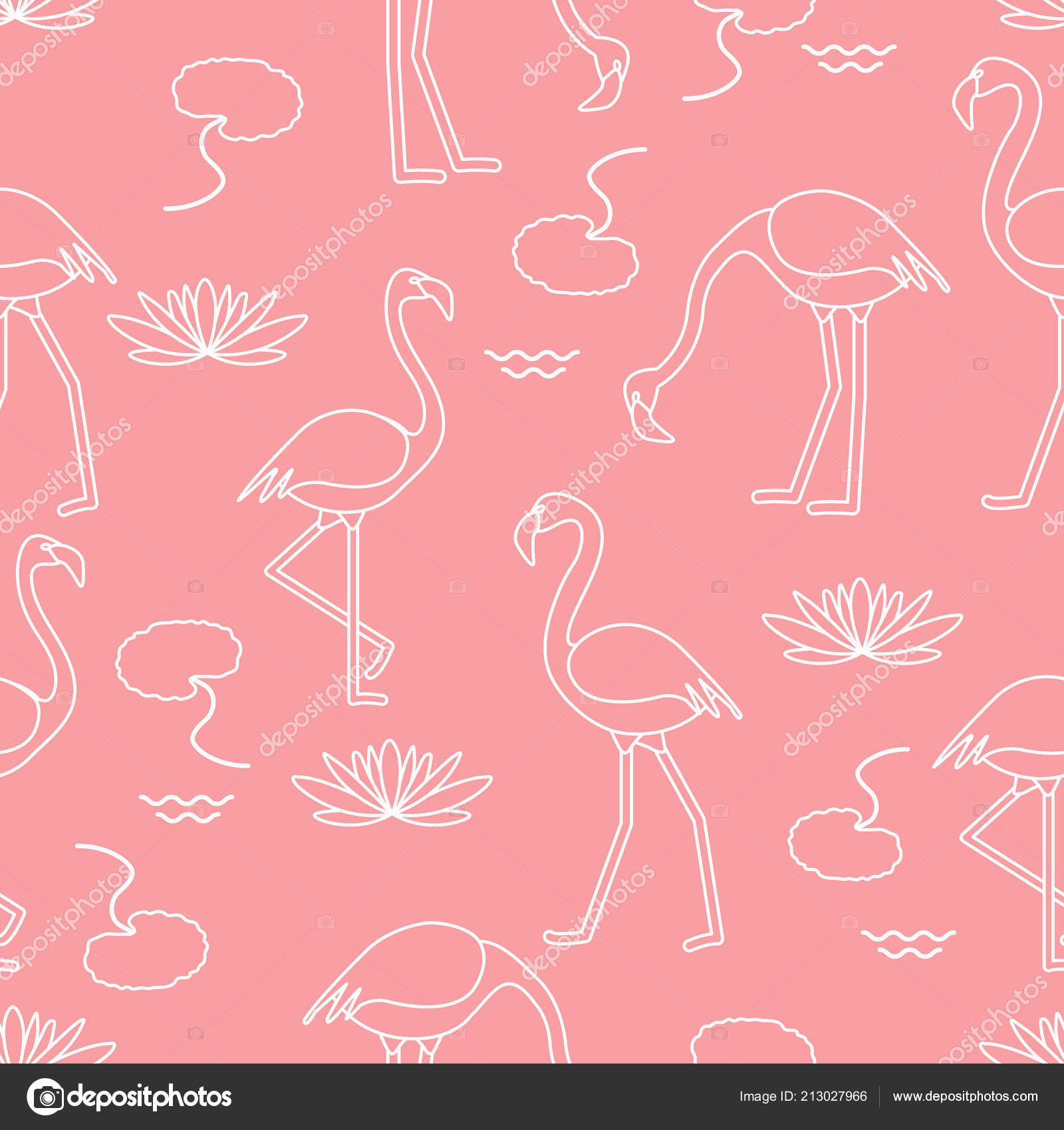 Seamless Pattern Flamingo Flowers Leaves Water Lilies Design Poster