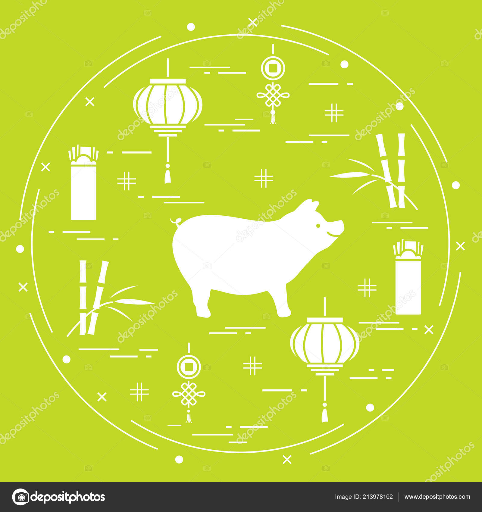 Happy New Year 2019 Card Chinese New Year Symbols Pig