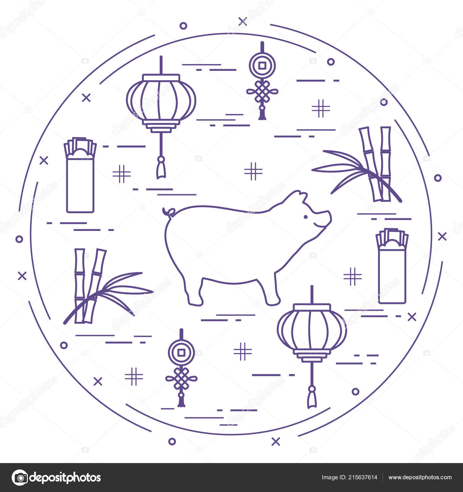 Happy New Year 2019 Card Chinese New Year Symbols Pig Stock Vector