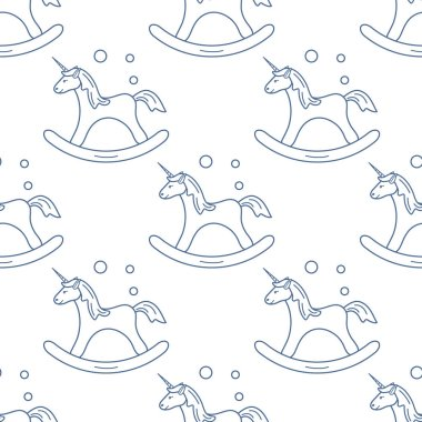 Pattern with rocking magic unicorn and bubbles. Design for children graphic, t-shirt, cover, gift card.