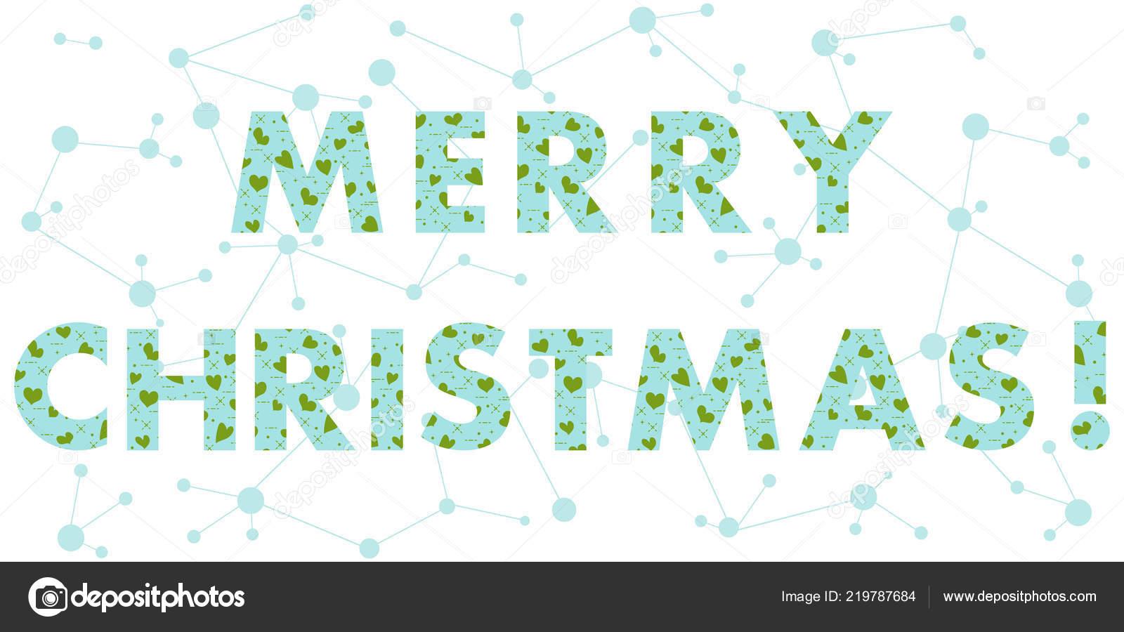 Christmas Card Inscription Message Decorated Hearts Design Postcard ...