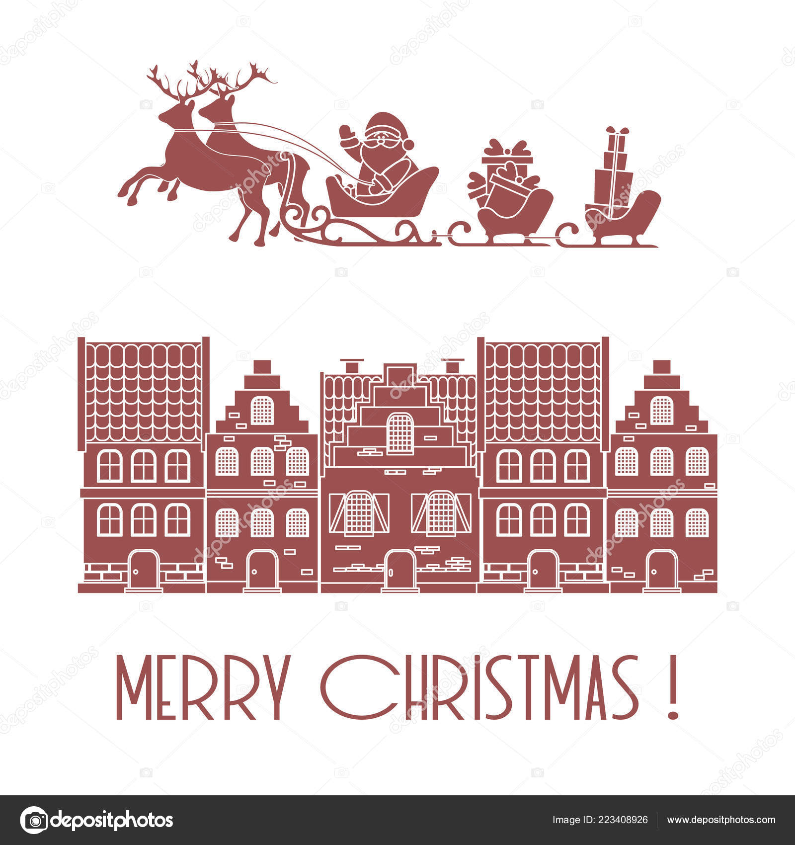Christmas Card Vector Illustration Santa Claus Gifts Sleighs ...