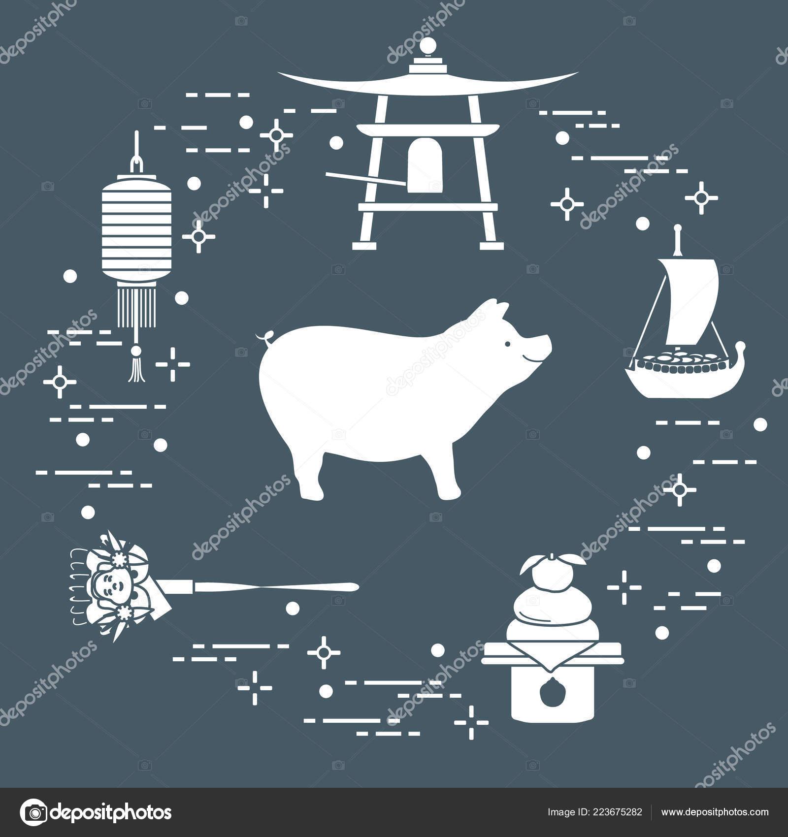happy new year 2019 card new year symbols japan boar stock vector