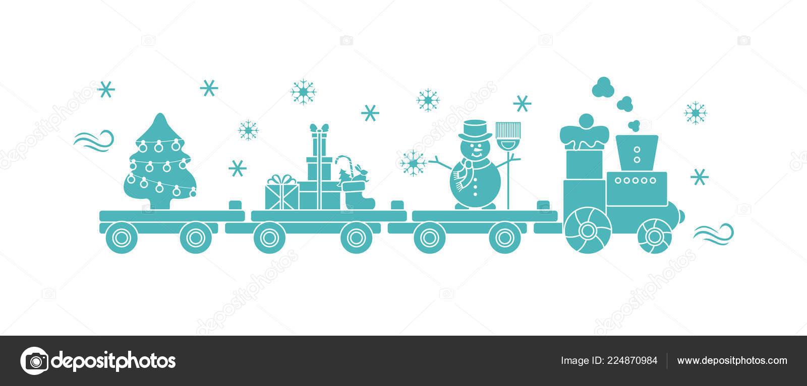 Funny Vector Illustration Christmas Train Carries Christmas Tree ...