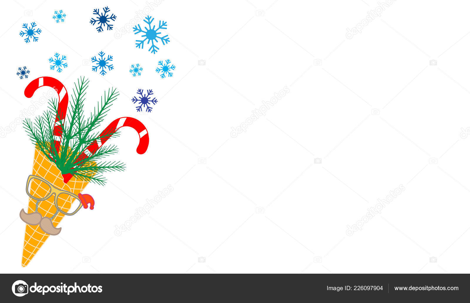 Vector Illustration Ice Cream Cone Candy Canes Snowflakes Sprig ...