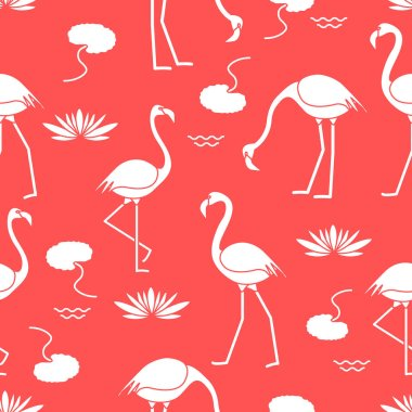 Seamless pattern with flamingo, flowers and leaves water lilies. Design for poster or print.
