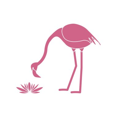Vector illustration with flamingo bird and water lilies flowers. Design for poster or print.
