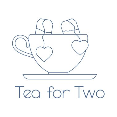 Vector illustration with cup, two tea bags with hearts. Tea for two. Happy Valentine's Day.