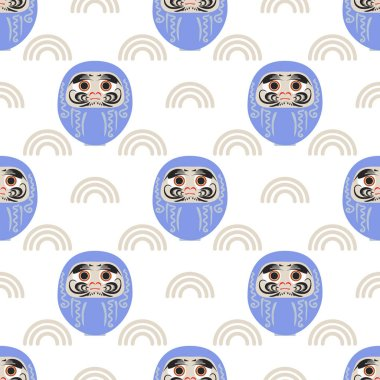 Happy New Year 2019 seamless pattern with daruma - Japanese traditional doll.  Roly-poly toy vector illustration. The annual new year's ritual of making a wish.