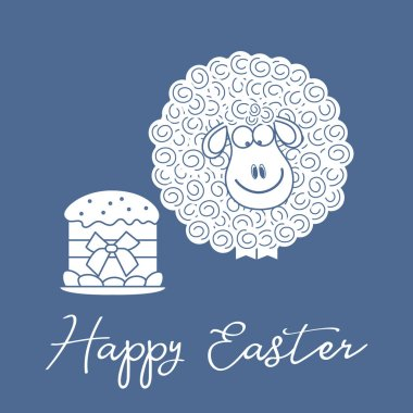 Vector illustration with Easter cake, eggs, lamb. Greeting card Happy Easter. Festive background. Design for banner, poster or print.