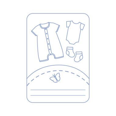 Vector illustration with baby clothes. Slip, socks
