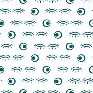 Vector seamless pattern with eyelashes. Makeup