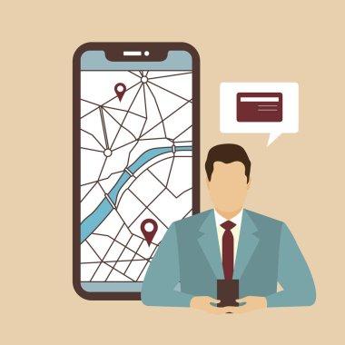 """Картина, постер, плакат, фотообои """"бизнесмен использует расположение телефонной карты atm navigation картины париж"""", артикул 265949410"""