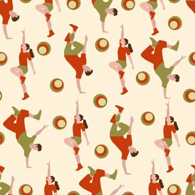 Vector seamless pattern with dancing people