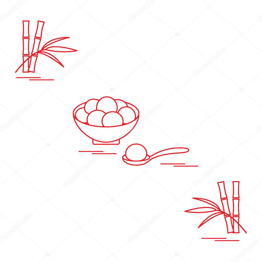 Happy new year 2020. Vector illustration with Chinese holiday treats Tangyuan. Traditional Chinese sweet served at festivals, Chinese New Year. Culture of  China. Design for poster, fabric, print. stock vector