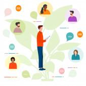 Vektorové ilustrace Lidé Vzdálená práce. Pracovní chat na zařízeních. Karanténa COVID-19. Videokonference pro kolektivní diskusi online. Webinar Presentation Business consulting, virtual meeting concept