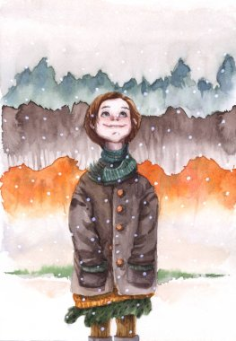 watercolor illustration with a girl in a brown coat admiring the snowfall