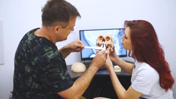 Doktor zubař učí studenta, jak zacházet se zuby pomocí příkladu lidské lebky