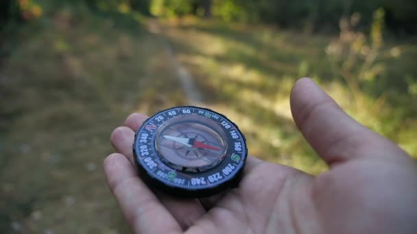 Female forwarder hands holding a compass and looking for direction. Orientation in forest 4k close-up in motion 4k