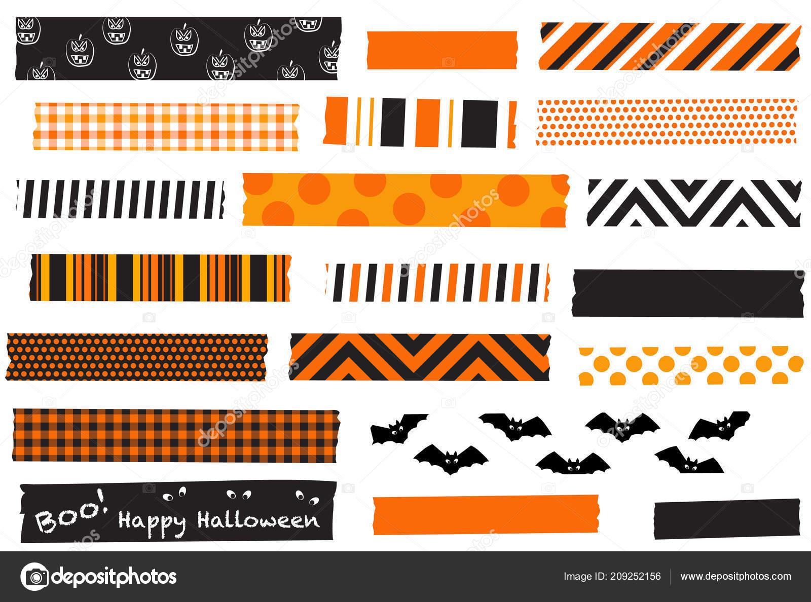 Halloween Collection Washi Tape Five Orange Black Tapes