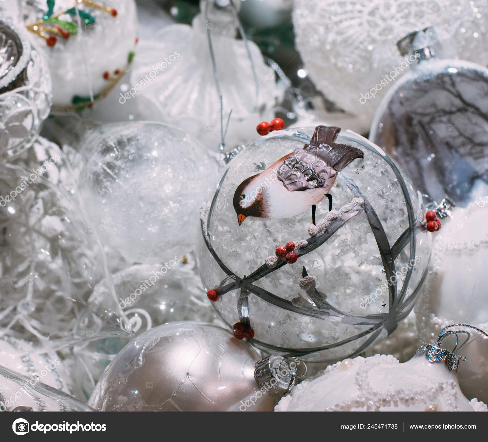 Christmas Tree Decorations All One Color White Background Stock Photo C El Caro Mail Ru 245471738