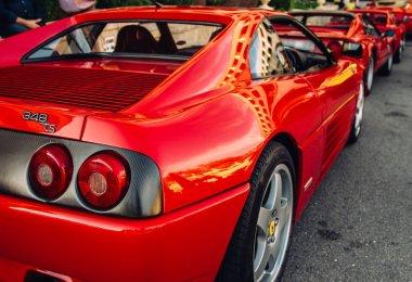 Ferrari show 8 october 2016 in Valletta, Malta, near Grand Hotel Excelsior. Stop signals of red Ferrari 348 TS